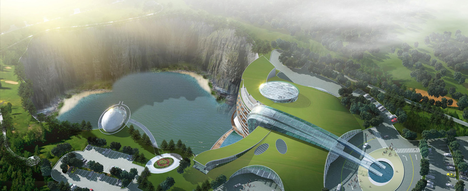 Cave Hotel Underway In Water Filled Chinese Quarry
